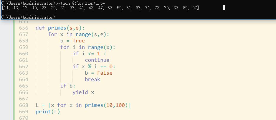 Python用生成器函数生成素数,给出起始值和终止值,生成此范围内的全部素数