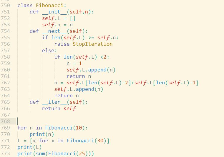 Python写一个类,Fibonacci 实现迭代器协议,此类的对象可以作为可迭代对象生成相应的斐波那契数源码